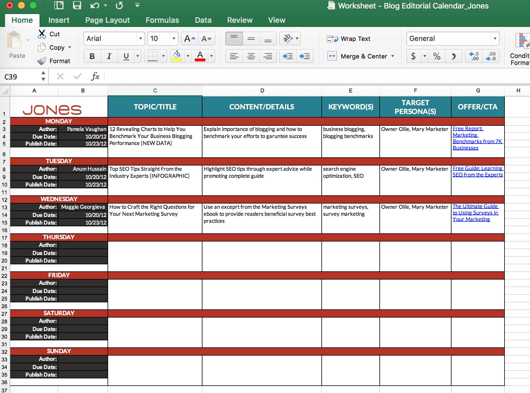 Business Blog Calendar Template