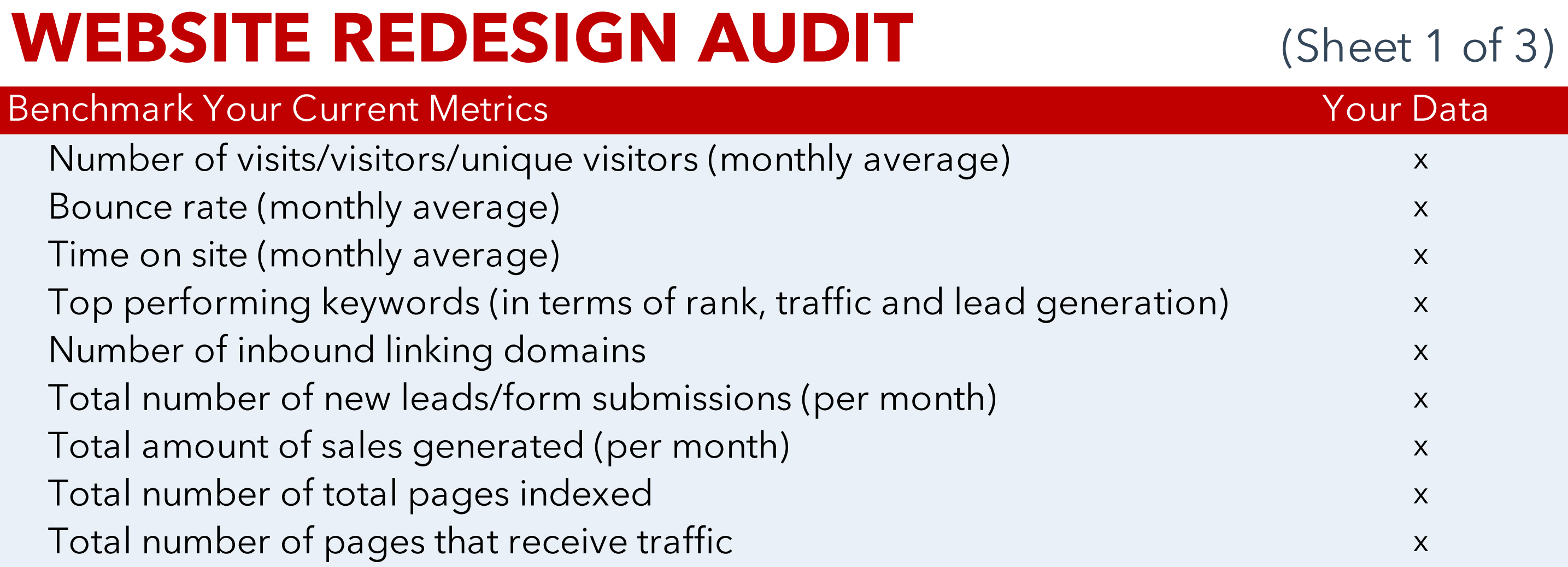 JONES Website Redesign Audit Template